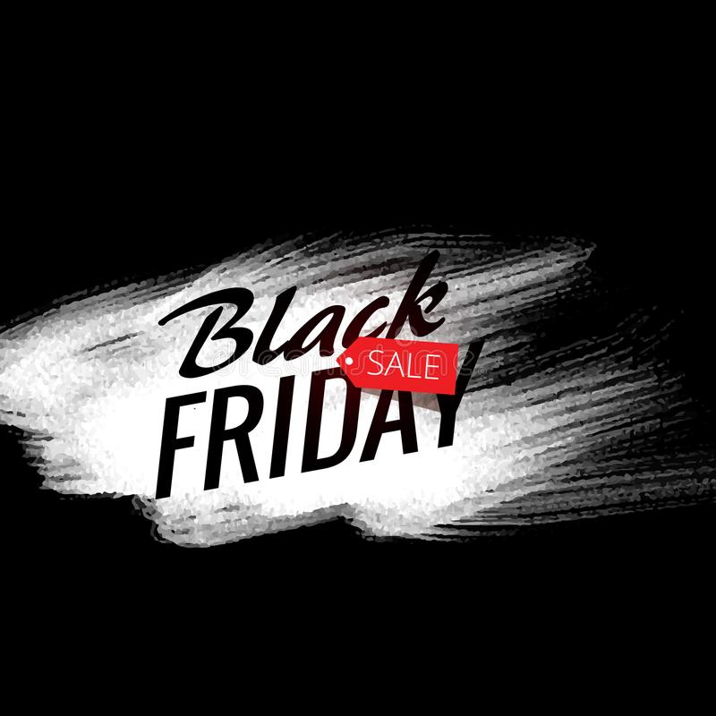 Stylish black friday sale ad poster with white paint stroke stock illustration