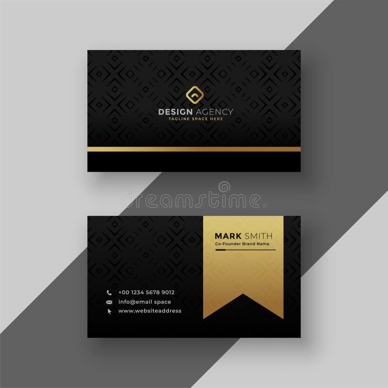 Stylish black and golden business card design stock illustration