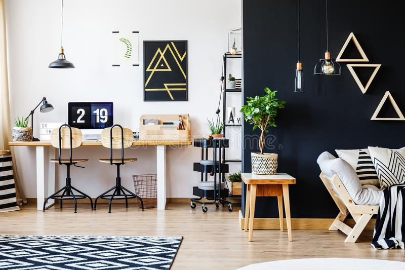 Black and white nordic apartment stock photo