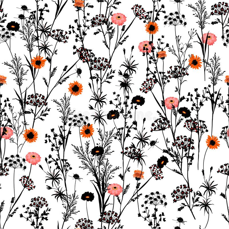 Stylish blalck and white silhouette of  Hand drawn meadow Floral with spot of red and orange blooming flowers pattern. Seamless vector illustration