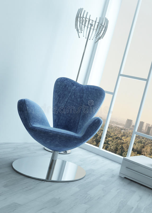 Stylish blue armchair in a modern white room vector illustration