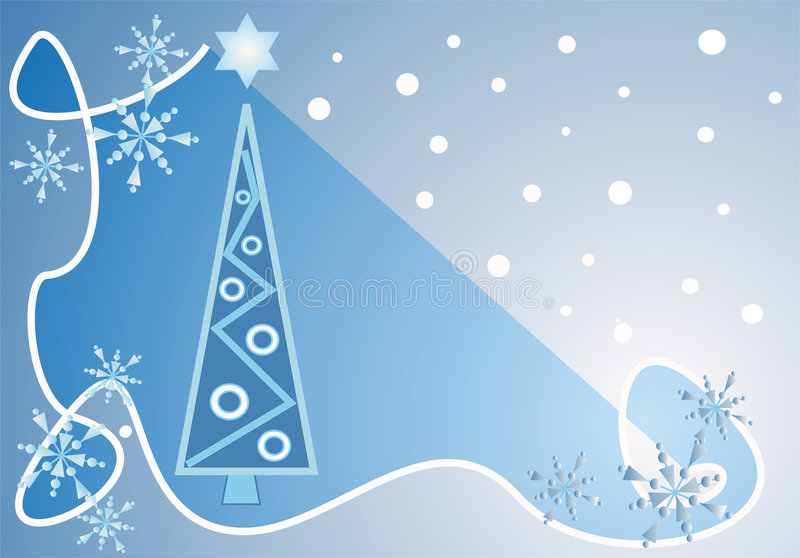 Stylish blue Christmas design. This design / illustration in blue and white tones shows a modern decorated christmas tree with a star and decorative snowflakes vector illustration