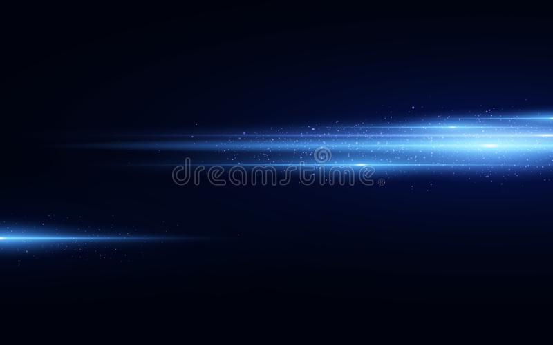 Stylish blue light effect isolated on black background. Blue glitters. Glowing lines with sparkles. Blurred light trails. Vector. Illustration. EPS 10 royalty free illustration