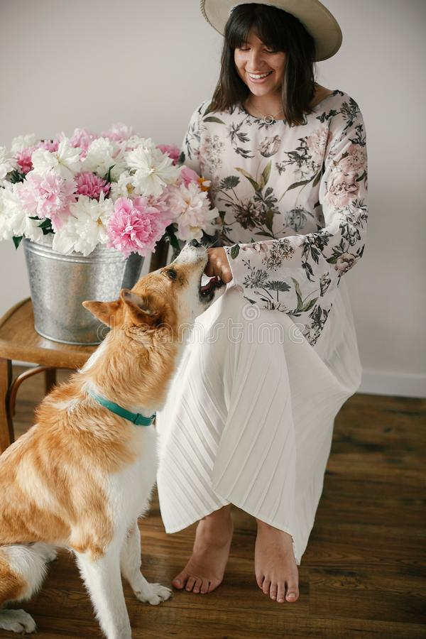 Stylish boho girl playing with cute golden dog at metal bucket with peonies on rustic wooden chair in home. Beautiful hipster stock photos