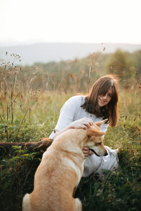 Stylish boho girl playing with her cute dogs in grass and wildflowers in sunny meadow in mountains at sunset. Traveling together stock images