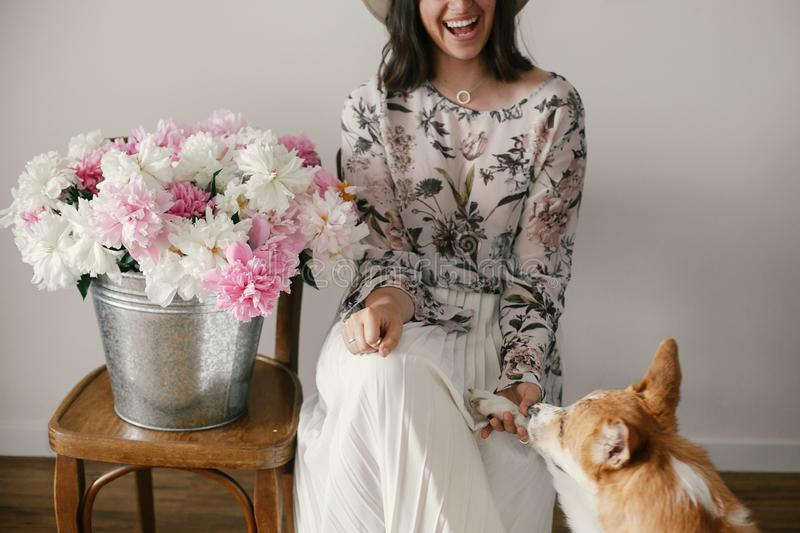 Stylish boho girl playing and smiling with cute golden dog at metal bucket with peonies on rustic wooden chair in home. Beautiful stock image