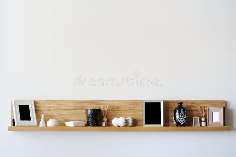 Stylish bookshelf stock images