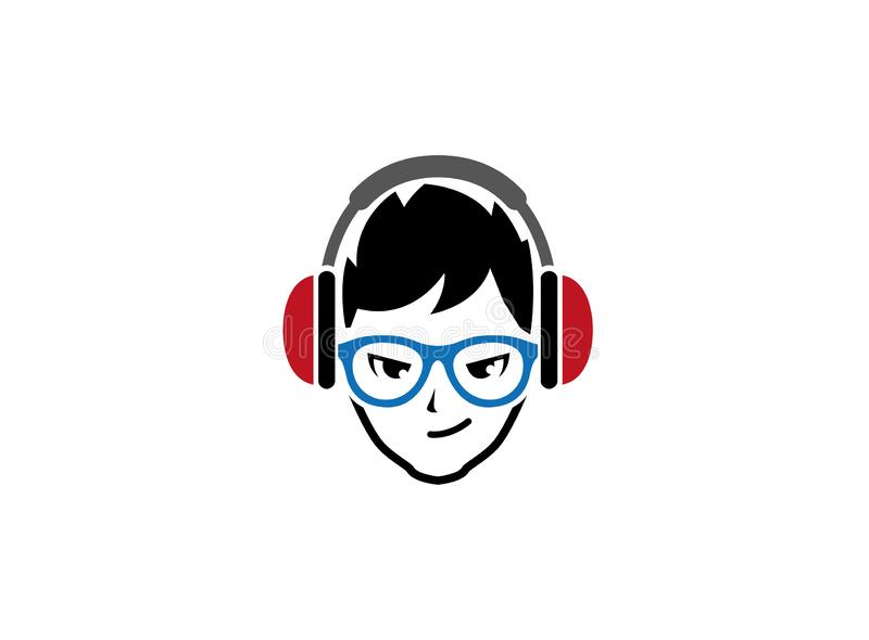 Stylish boy put headphone and blue glasses for logo design vector illustration