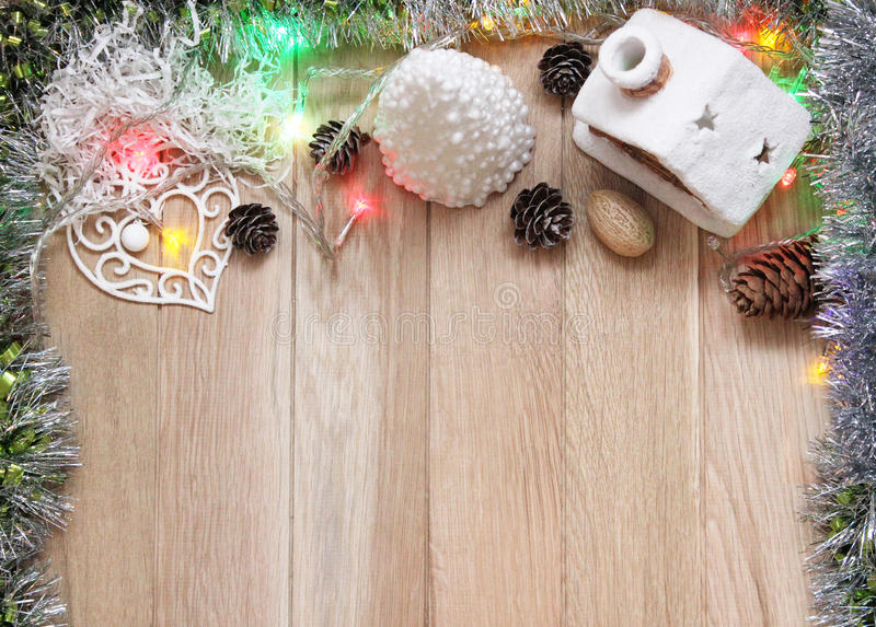 Stylish branding mockup to display your artworks. Cute vintage christmas new year mock up on wooden background royalty free stock photos