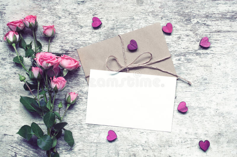 Stylish branding mockup to display your artworks. valentines day. Stylish branding mockup to display your artworks. vintage wedding greeting card with pink roses royalty free stock images