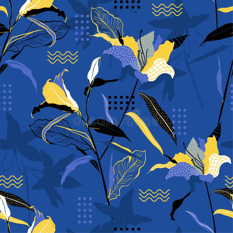 Stylish  bright Seamless pattern hand drawn delicate lily flowers vector with geometric polkadot and lines ,Design for fashion stock illustration