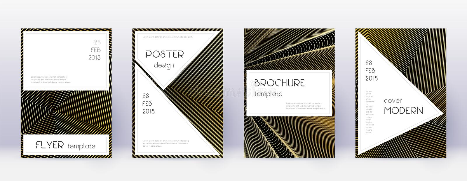 Stylish brochure design template set. Gold abstrac. T lines on black background. Beauteous brochure design. Unique catalog, poster, book template etc royalty free illustration