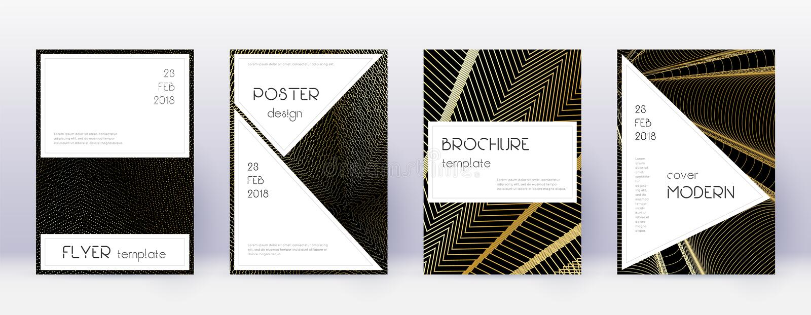 Stylish brochure design template set. Gold abstrac. T lines on black background. Beauteous brochure design. Valuable catalog, poster, book template etc royalty free illustration