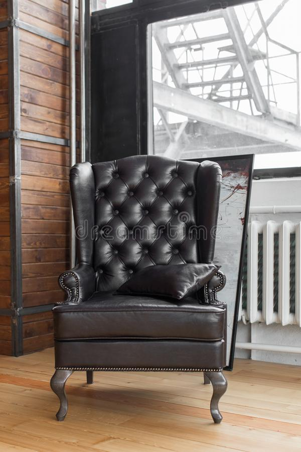 The classic armchair that stands in the studio royalty free stock photos