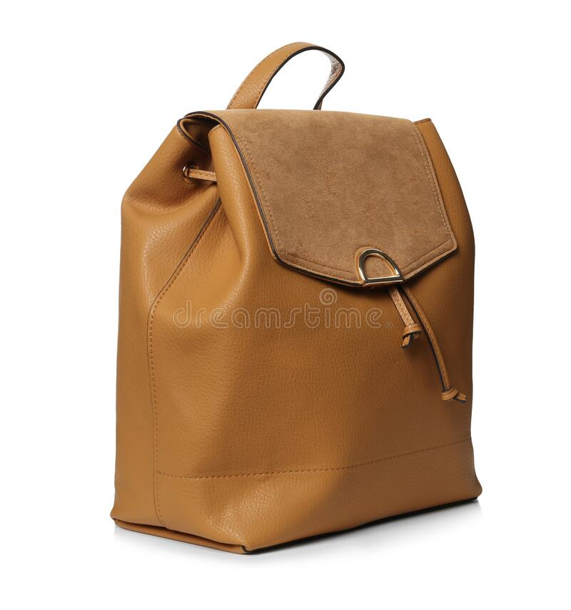 Free Stylish Brown Leather Backpack Isolated On White Stock Photo - 216742820