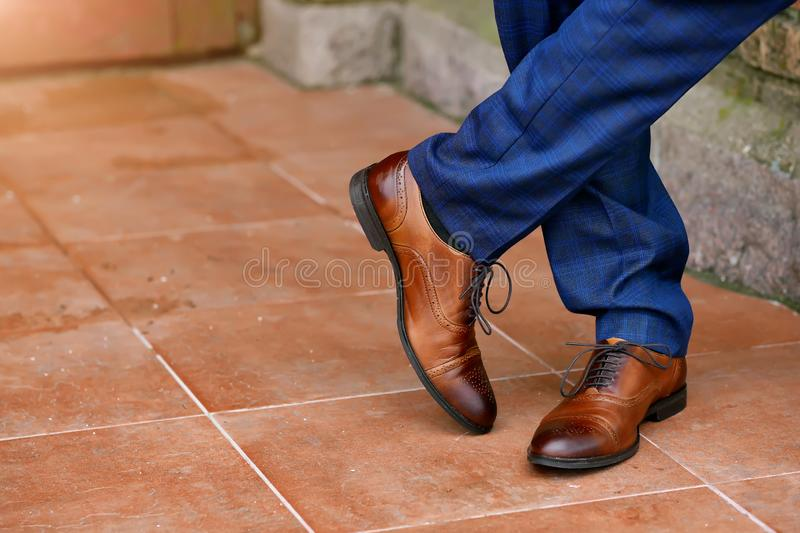 Stylish brown mens shoes close-up.  royalty free stock photos