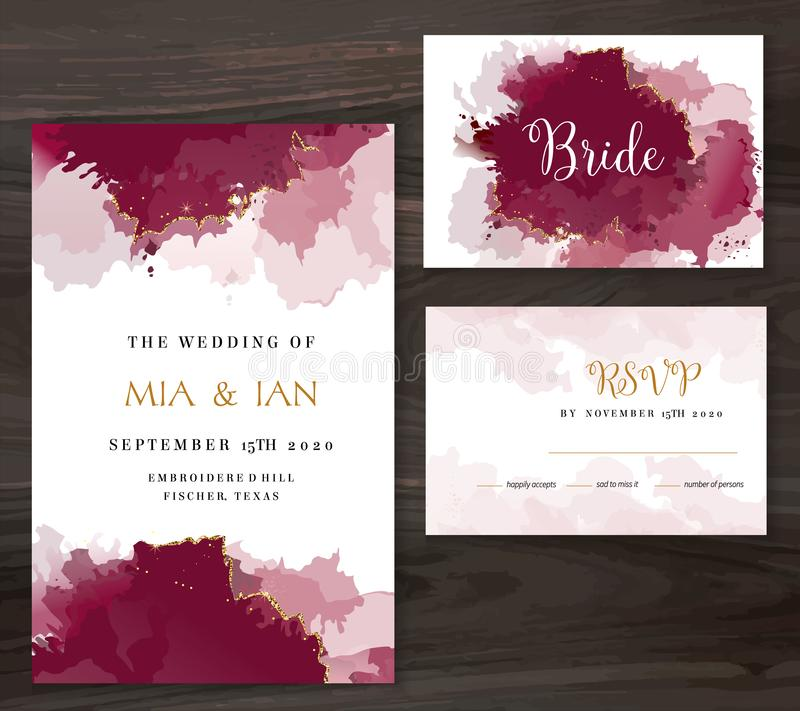 Stylish burgundy red watercolor and gold glitter vector design card royalty free illustration