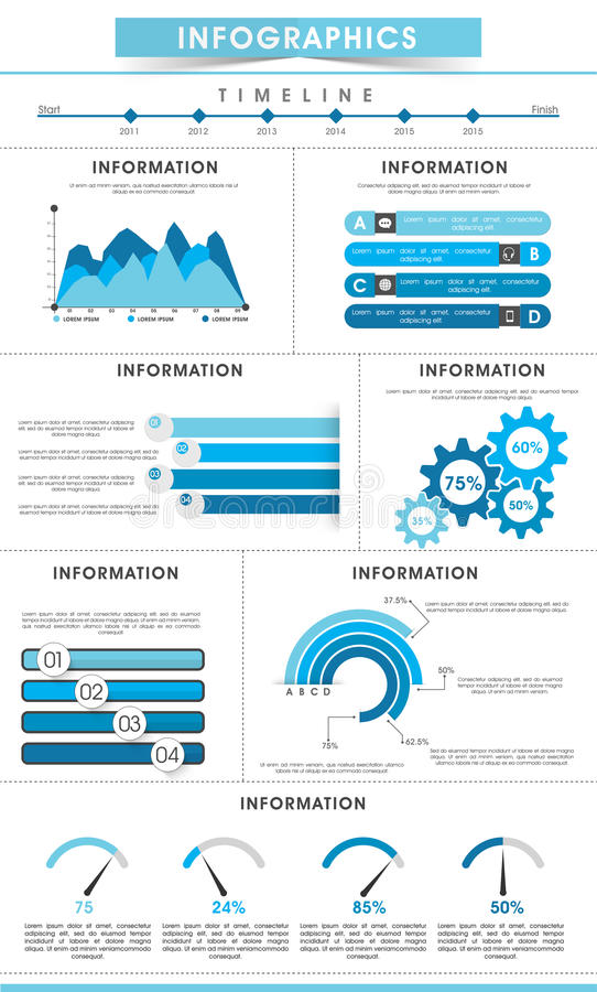 Stylish business infographic template. Stylish business infographics template including various elements for corporate sector royalty free illustration