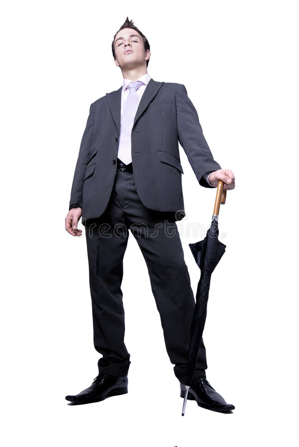 Free Stylish Businessman With Umbrella Stock Photo - 1698960