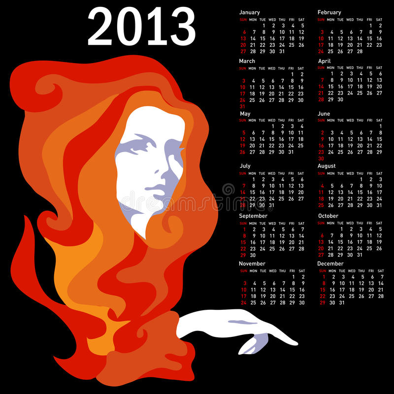 Stylish calendar with woman for 2013. stock illustration