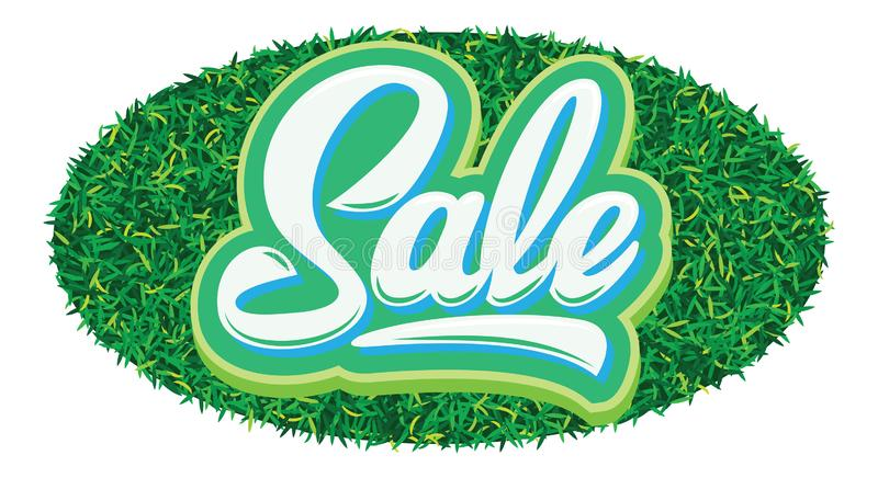 Stylish calligraphic green lettering sale on the background.  royalty free illustration