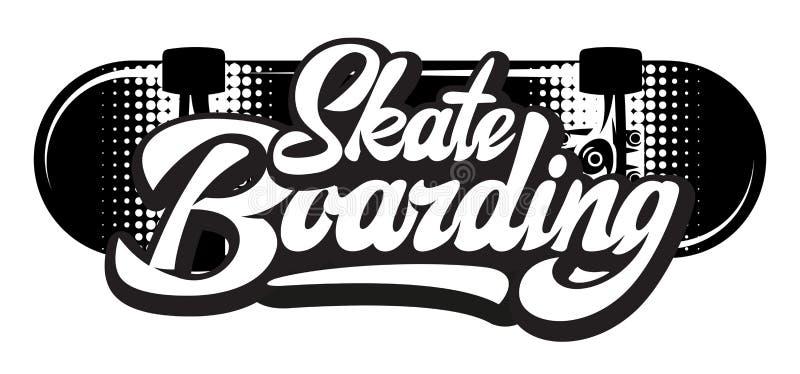 Stylish calligraphic inscription - skateboarding. Vector monochrome illustration.  vector illustration