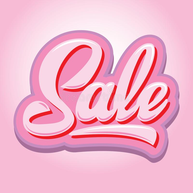 Stylish calligraphic pink lettering sale on the background.  vector illustration