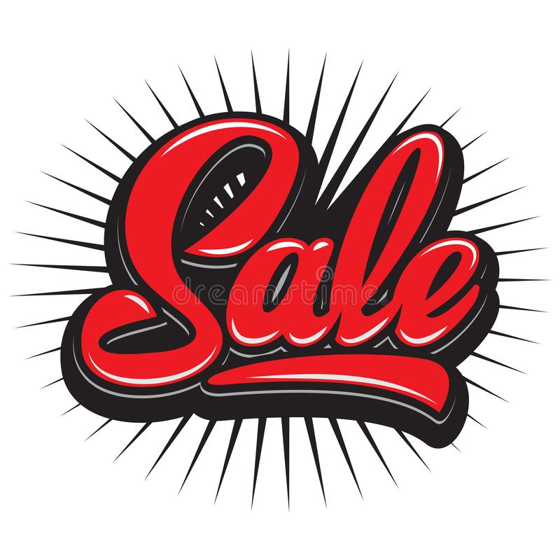 Stylish calligraphic red lettering sale on the background.  stock illustration