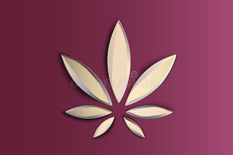Stylish cannabis marijuana hemp leaf flat symbol or logo design. Cannabis logo on pink background. Hemp emblem for the. Stylish cannabis marijuana hemp leaf flat vector illustration