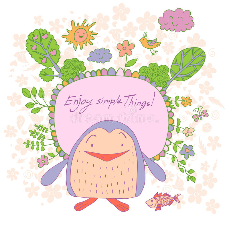 Stylish cartoon card made of cute flowers, doodled penguin. Trees, butterfly and bird in bright colors in vector. Awesome cartoon card for childish holiday royalty free illustration