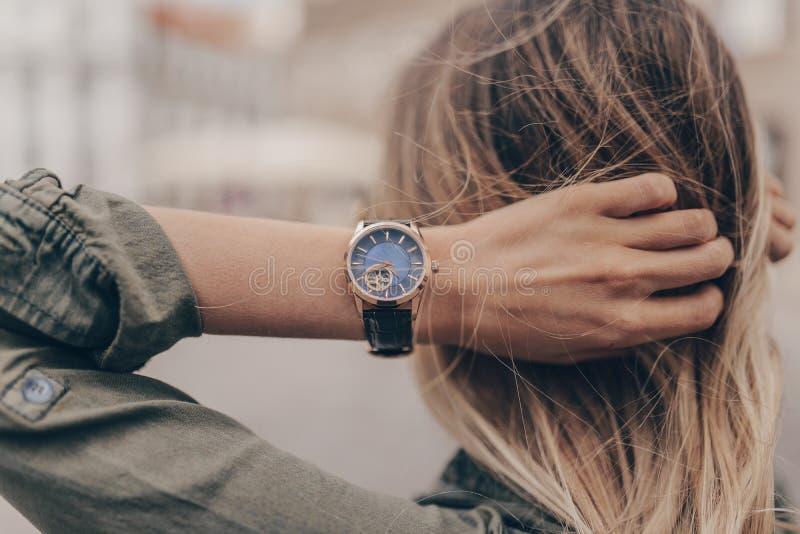 Stylish casual watch on woman hand stock photo
