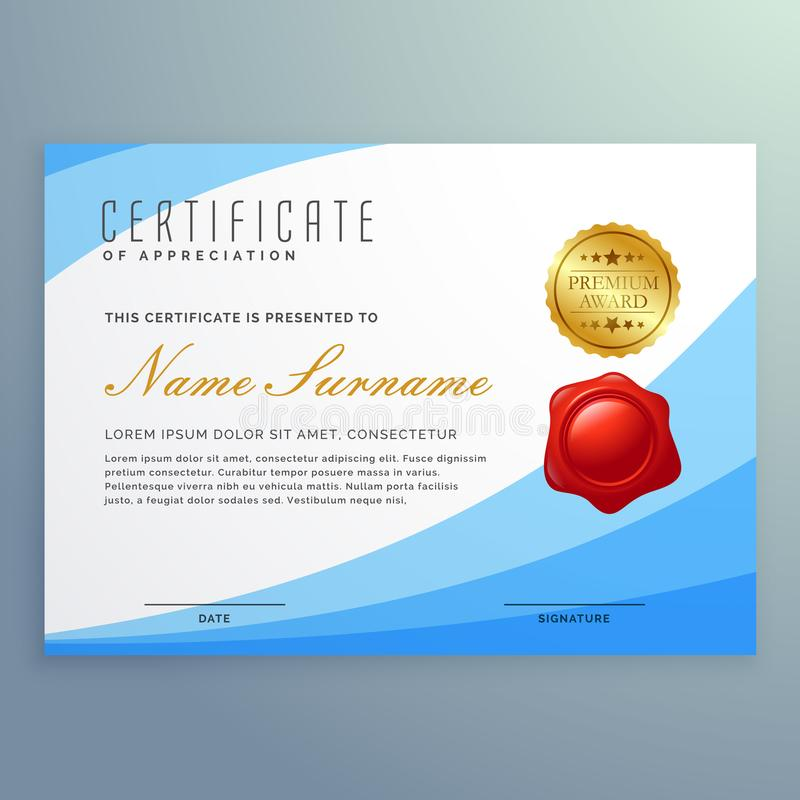 Stylish certificate of appreciation with wavy blue shape royalty free illustration