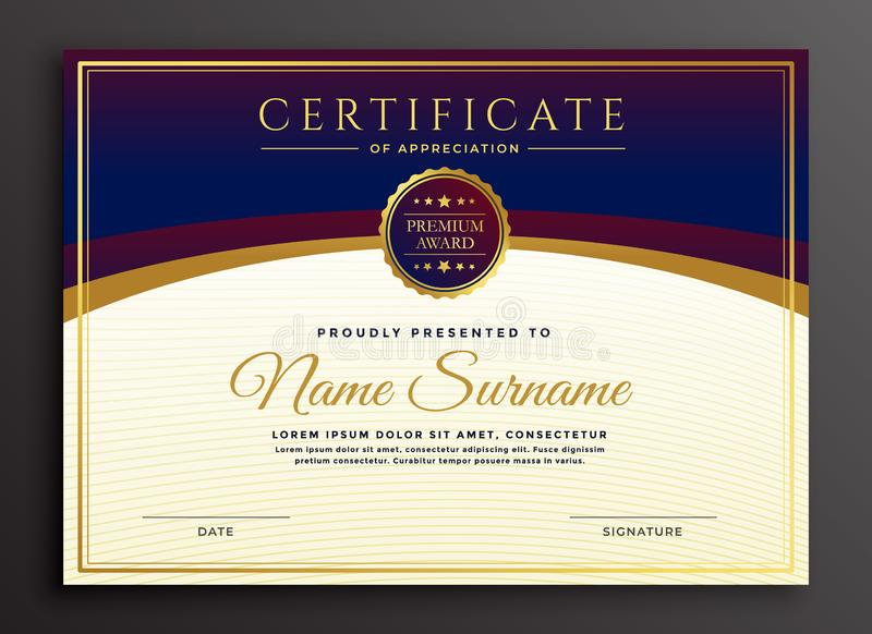 Stylish certificate design professional template royalty free illustration