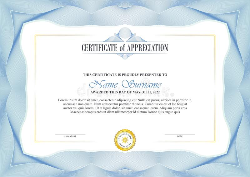 Stylish Certificate Frame with Guilloche border design royalty free illustration