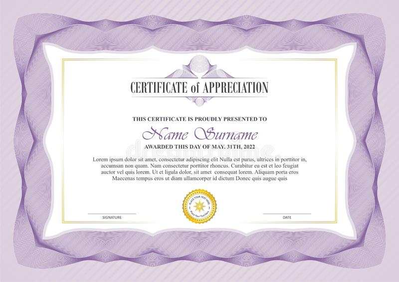 Stylish Certificate Frame with Guilloche border design vector illustration
