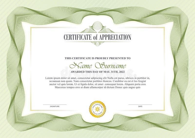 Stylish Certificate Frame with Guilloche border design. Suitable for invitation, card, background, and other vector illustration