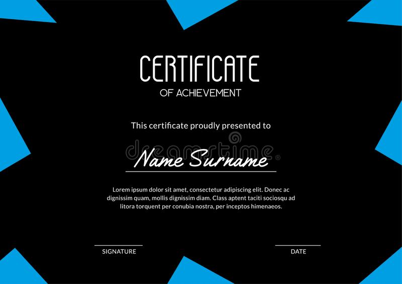 Stylish certificate layout with blue triangles on the black background royalty free illustration