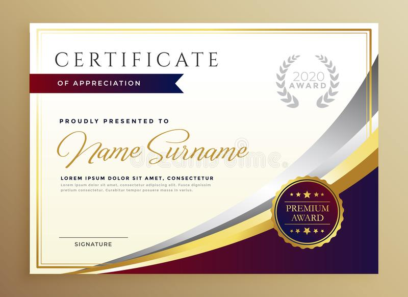 Stylish certificate template design in golden theme royalty free illustration