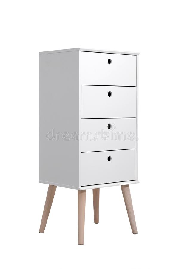 Stylish chest of drawers on white. Furniture for wardrobe room. Stylish chest of drawers isolated on white. Furniture for wardrobe room royalty free stock image