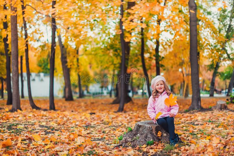 Stylish child girl 5-6 year old wearing trendy pink coat in autumn park. Looking at camera. Autumn season. Childhood. royalty free stock images