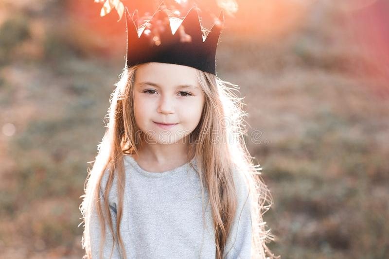 Stylish child outdoors royalty free stock photography