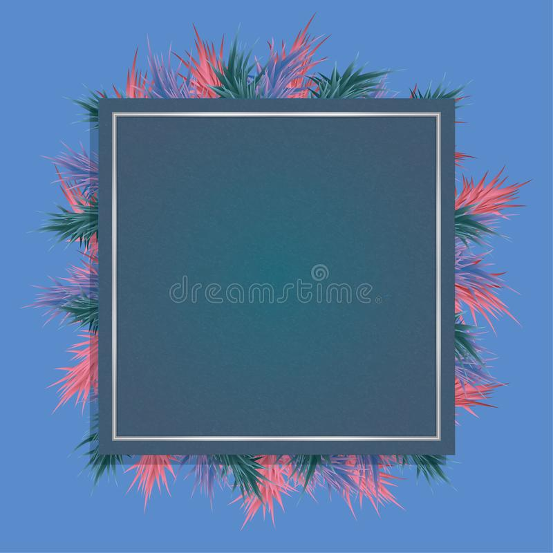 Stylish Christmas card with a blue background, fir-tree branches and a frame with cloth texture royalty free stock photo
