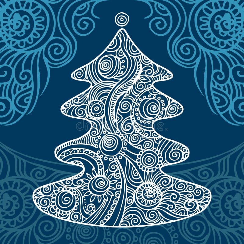 Stylish Christmas Tree Stock Vector. Illustration Of