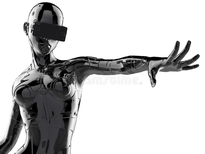 The stylish chromeplated cyborg the woman. 3d illustration. royalty free illustration