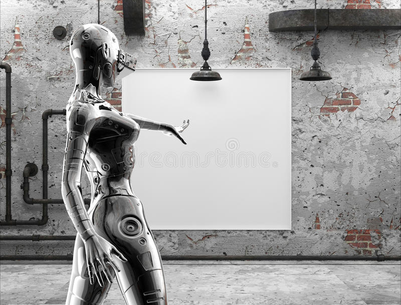 The stylish chromeplated cyborg the woman near pictures on a wall in the old room. 3d illustration. royalty free illustration