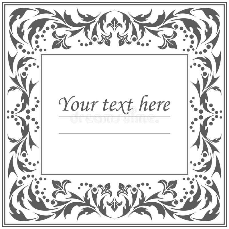 Stylish classic frame with vintage ornament royalty free illustration