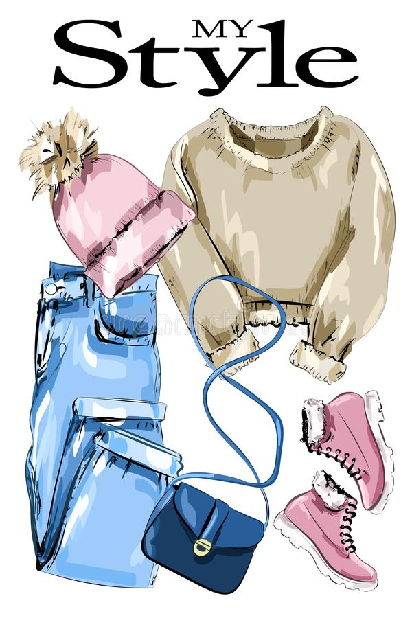 Stylish clothes outfit. Fashion clothing set: knitted. Sweater, knitted hat, bag, shoes and jeans. Sketch. Vector illustration royalty free illustration