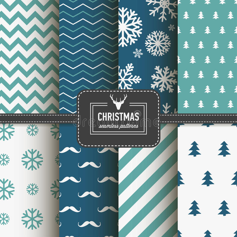 Stylish collection patterns. Set of Christmas simple retro winter seamless patterns. Stylish collection patterns Eps 10 royalty free illustration