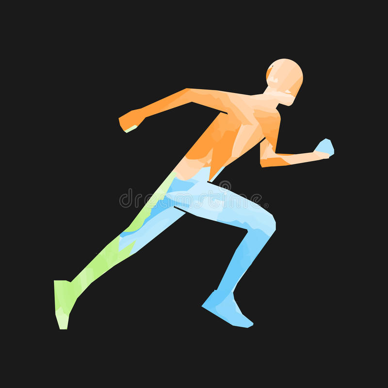 Stylish colored silhouettes of runners royalty free illustration