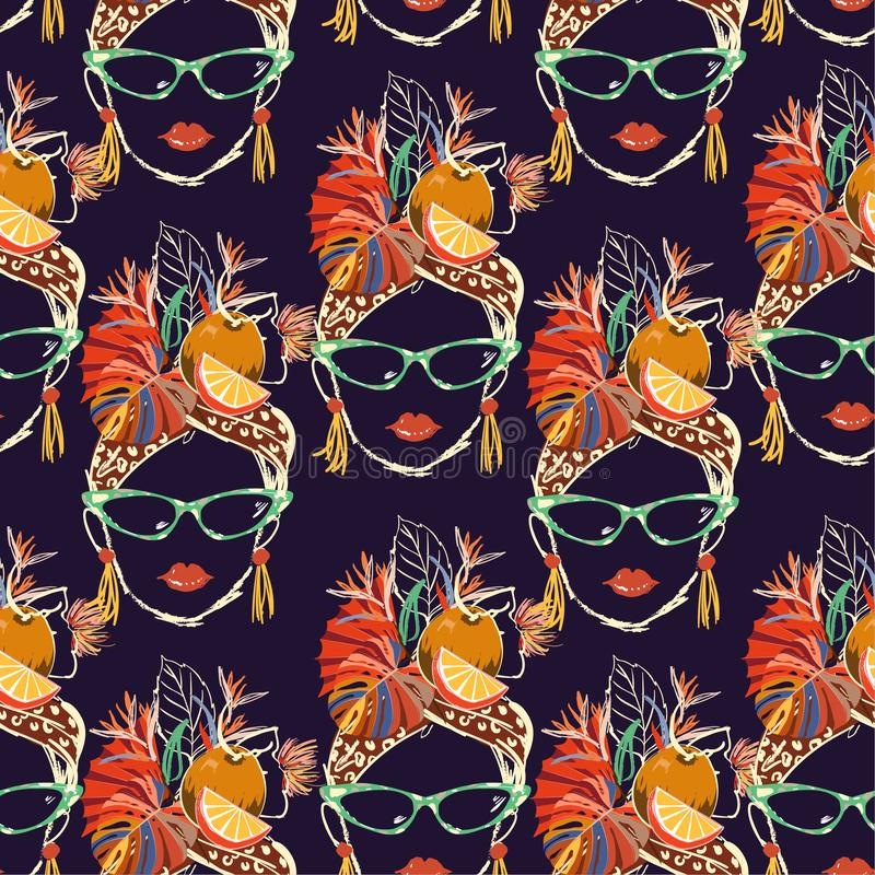 Stylish and colorful Hand drawn Havana tropical women characters with summer mood cartoon seamless pattern vector illustration